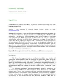 Sex differences in same-sex direct aggression and sociosexuality: The role of risky impulsivity