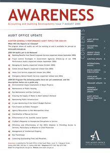 NSW Audit Office - Awareness - Issue 2004 07 - August 2004