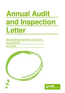 2007-2008 - Annual Audit and Inspection Letter - Walsall MBC v1.1
