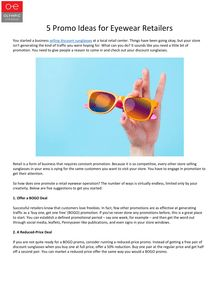 5 Promo Ideas for Eyewear Retailers
