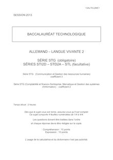 Bac 2013 Techno Sujet : Allemand LV2