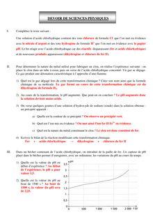 Devoir corrigé physique-chimie 3e