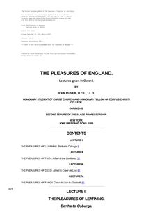 The Pleasures of England - Lectures given in Oxford
