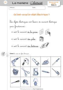 DDM CP/CE1 – La matière : l'électricité - Séquence 2 – L'électricité, Mersadi Mersadi Lélectricité Exercices