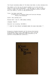 The Khaki Kook Book - A Collection of a Hundred Cheap and Practical Recipes - Mostly from Hindustan
