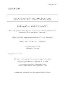 Bac 2013 Techno Allemand LV1