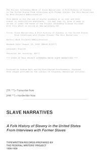Slave Narratives: a Folk History of Slavery in the United States - From Interviews with Former Slaves - Ohio Narratives