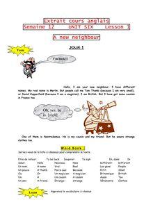 Cours d'anglais - a new neighbour