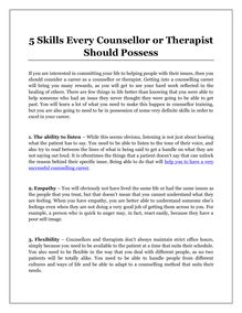 5 Skills Every Counsellor or Therapist Should Possess