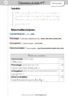 Orthographe / Grammaire / Vocabulaire CE1 – Préparations de dictées et leçons - Préparations de dictées n°1