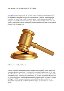 Triet M. Phan Tips for How to Find a Civil Lawyer