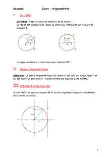 Cours de trigonométrie - Seconde