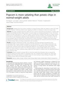 Popcorn is more satiating than potato chips in normal-weight adults