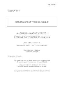 Sujet bac 2014 - Séries techno - LV1 allemand