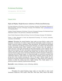 High and mighty: Height increases authority in professional refereeing