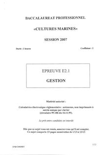 Bacpro cultures marines gestion 2007
