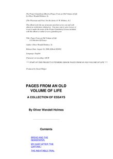 Pages from an Old Volume of Life; a collection of essays, 1857-1881