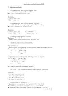 Addition et soustraction de nombres relatifs