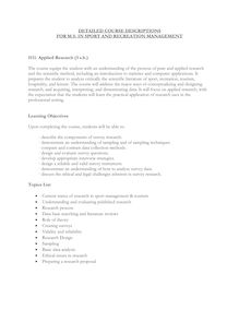 DETAILED COURSE DESCRIPTIONS FOR M.S. IN SPORT AND RECREATION ...