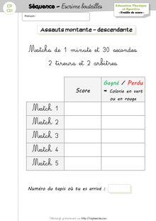 EPS CP/CE1 – Unité d'apprentissage «Escrime bouteille» - Feuilles de score