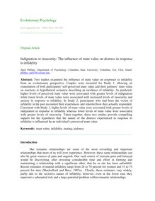 Indignation or insecurity: The influence of mate value on distress in response to infidelity