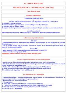 Révision Brevet Histoire - La France depuis 1945 - Résumé et TDs