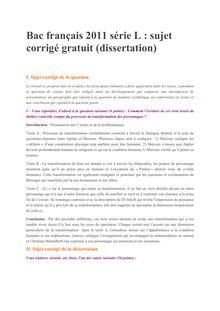 Bac Premiere 2011 L Francais Corrige dissertation