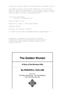 The Golden Woman - A Story of the Montana Hills