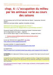 Cours SVT Sixième - Chap 6 : l'occupation du milieu par les animaux varie au cours du saison