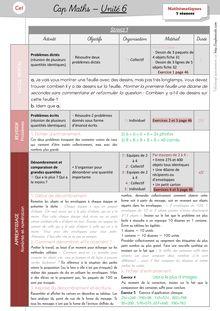 Mathématiques CE1 – Organisation des séances, exercices et leçons : Périodes 1 et 2 - Unité 6 Préparation des séances