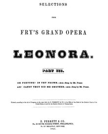 Partition Aria: Oh Fortune! en Thy Frown, Leonora, Lyrical drama