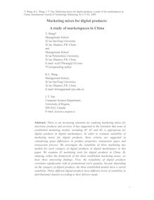 Marketing mixes for digital products: A study of marketspaces in China