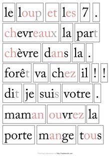 Lecture / Littérature CP-CE1 : Le loup et les 7 chevreaux - Etiquettes mots Classe