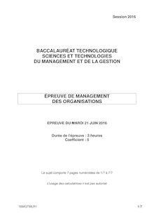 Baccalauréat Management des Organistations 2016 - Série STMG