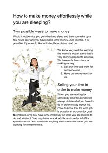How to make money effortlessly while you are sleeping?