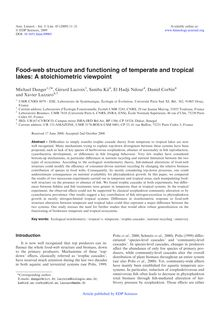 Food web structure and functioning of temperate and tropical lakes: A stoichiometric viewpoint