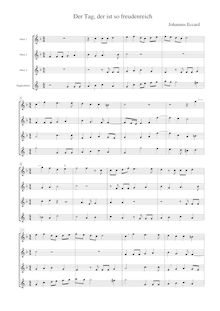 Partition Transcription pour 3 hautbois et Cor anglais: Score, parties, Der Tag, der ist so freudenreich