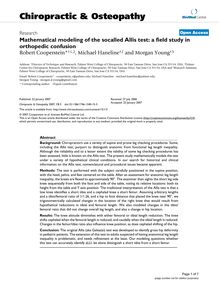 Mathematical modeling of the socalled Allis test: a field study in orthopedic confusion