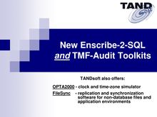 New Enscribe-2-SQL and TMF-Audit Toolkits