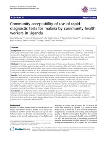 Community acceptability of use of rapid diagnostic tests for malaria by community health workers in Uganda
