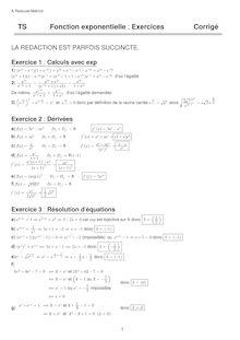 Exercice corrigé sur les fonctions exponentielle