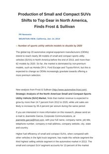 Production of Small and Compact SUVs Shifts to Top Gear in North America, Finds Frost & Sullivan