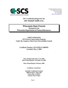Wisconsin State Forests 2005 Surveillance Audit Report