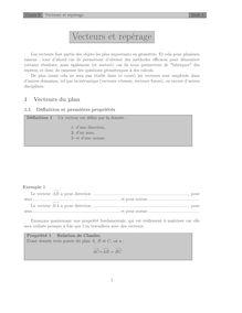Chapitre sur les vecteurs et le repérage Cours 6
