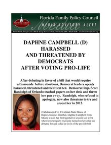DAPHNE CAMPBELL (D) HARASSED AND THREATENED BY DEMOCRATS AFTER ...