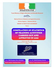Compilation of statistics of activities approuved and carried out in 2000 at DFVT