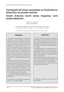 Cartografía de áreas quemadas en Sudamérica: detección de píxeles semilla (South America burnt areas mapping: core pixels detection)