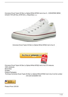 Converse Chuck Taylor All Star Lo Optical White M7652 men8217s 4.5 Reviews