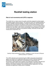 Rockfall testing station Risk of rock movements and LCPC
