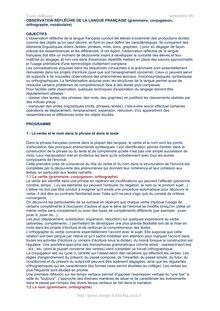 Ecole publique septembre OBSERVATION RÉFLÉCHIE DE LA LANGUE FRANÇAISE grammaire conjugaison orthographe vocabulaire